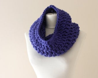 Chunky cowl purple circle scarf  crochet neckwarmer winter accessories christmas gift for women