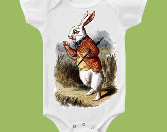 Alice in Wonderland, White Rabbit TShirt,Baby Bodysuit, Girls TShirt, Boys Shirt, One Piece,Tank Top, Baby Shower,  by ChiTownBoutique.etsy