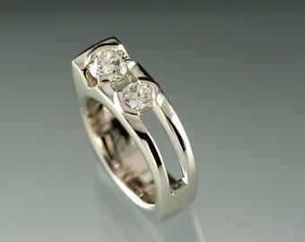 Moissanite 14kt White Gold Engagement Wedding Ring, 7mm Moissanite 6mm Moissanite White Gold Ring, Diamond like Ring