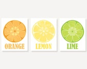 Kitchen Art - Orange Lemon & Lime - 3 Vintage Style Citrus Prints Illustration Prints Wall Decor