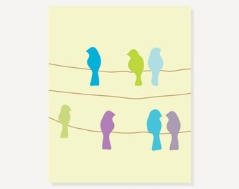 Birds On A Wire Wall Art in Pastel Colors - Kids Wall Art Digital Illustration Print