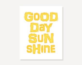 Beatles Quote Art: Typographic Print Song Lyric Print - Good Day Sunshine Digital Print - Yellow