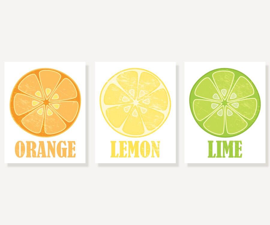 Kitchen Art Orange Lemon Lime 3 Vintage Style Citrus Prints Illustration Prints Wall