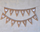 JUST MARRIED Banner Hessian Burlap Wedding Celebration Party Bunting Decoration white text white heart photo prop car banners