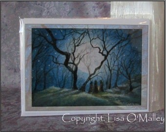 """Mini Art Greetings Card  """"The Meeting Place"""" Witches"""