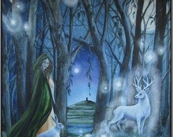 "Hare Print,  "" Spirit Lights""  Glastonbury Tor, Stag"