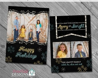 Holiday - Chalky Christmas Card No. 3 - 5x7 photo card templates for photographers