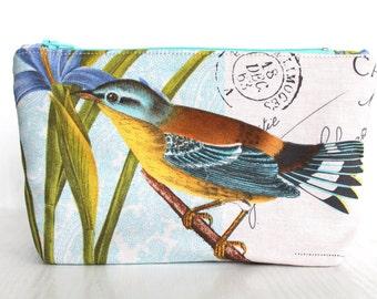 Blue bird zippered pouch,make up purse