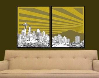 Seattle Split Digital City Wall Art