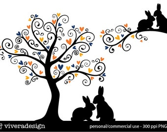 Love Bunnies and a Love Tree - in Navy Blue and Orange