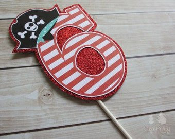 Pirate Boy or Girl Party Custom Age Number Cake Topper - Ahoy Matey Collection