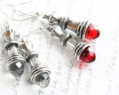 Red Swarovski Crystal - Sterling Dangle Earrings - Chess Queen Earrings - Antique Silver - Chess Piece, Red queen