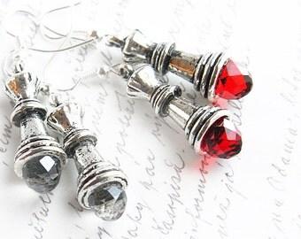 4th July Red Swarovski Crystal Alice in Wonderland Red Queen Earrings Sterling Dangle Drop Earrings Chess Queen Earrings Chess Piece