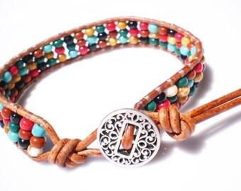 Leather Beaded Czech Glass Friendship Bracelet mini cuff