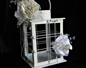 wedding  card holder, box,lantern  container ,for wedding cards and wishes, unique card wish holder to match brooch bouquets ,