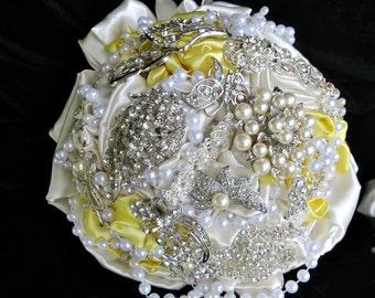 yellow and ivory alternative wedding  brooch bouquet,  bridal bouquet, brooch  bouquet,