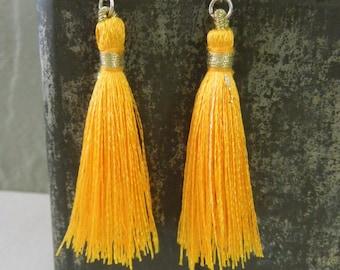 Yellow Orange Tassel Earrings - Light Orange Tassel Pendant Earrings Silver Fish Hook Earwires