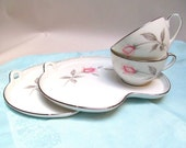 Pair of Noritake Rosemarie Snack Sets with Pink Roses