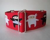 Ninja Martingale Collar, Red Martingale Dog Collar, Ninja Dog Collar, Red and Black, 2 Inch Martingale Collar