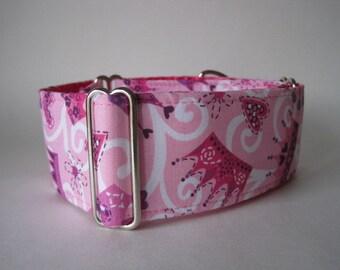 Pink Martingale Collar, 1.5 Inch Martingale Collar, Greyhound Collar, Princess Dog Collar, Whippet Collar, Pink Dog Collar