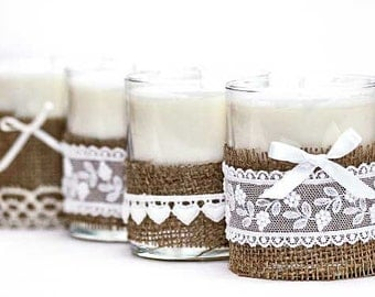 Burlap and Lace Jar Candles