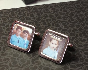 Personalized Dad - Photo Cufflinks - Square - Silver plated - Fathers Gift