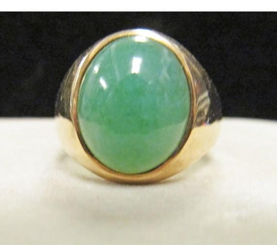 Vintage Estate 14k Mens Apple Green Jade Ring