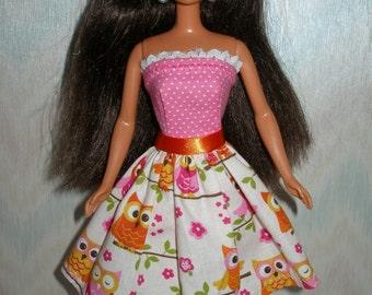 "Handmade 11.5"" fashion doll clothes - pink and orange owl print dress"