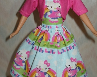 """Handmade 11.5"""" fashion doll clothes - blue, pink and white kitty dress with pink jacket"""