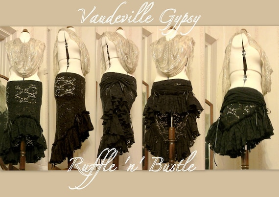Original Ruffle n Bustle Skirt by Vaudeville Gypsy// Tribal Fusion Skirt// Belly Dance// Steampunk// Gothic// Neo Victorian// MADE TO ORDER