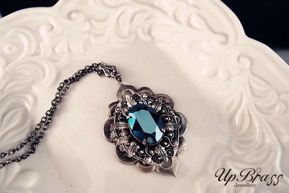 Vespera--Swarovski metallic blue crystal antique silver Neo Victorian metalwork necklace-goth-dark noir-macabre