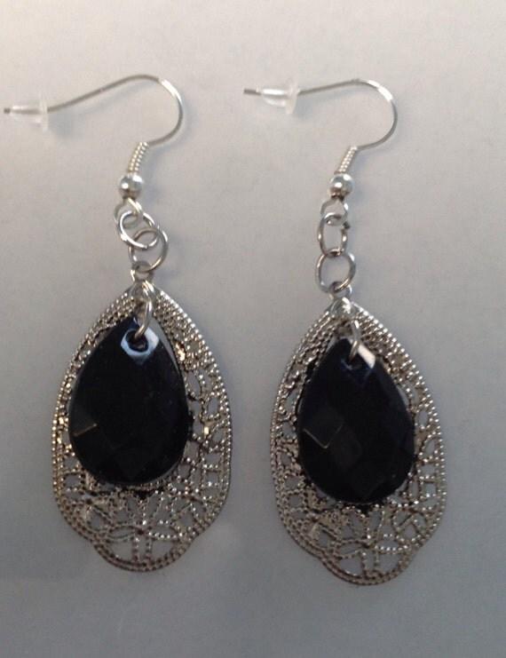 drop earrings silver filagree black dangle earrings by