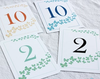 Table Numbers Decorated with Butterflies PDF you print from home.