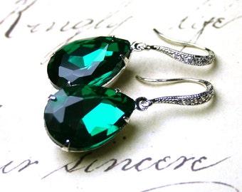 Emerald Green Vintage Jeweled Earrings - Estate Style Earrings - Sterling Silver and CZ Earwires With Dark Green Jewels