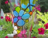 Hippie Retro Hand Painted Beer Glass Pilsner Style Peace Love Flower Power Smiley Face