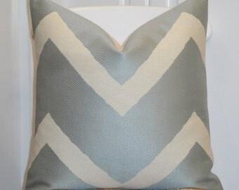 Decorative Pillow Cover - IKAT Zig Zag - Chevron Pillow - Spa Blue - Sofa Pillow