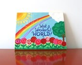 Art for Children, WHAT A WONDERFUL World No.2, 14x11 Inspirational Art for Baby Girl Nursery