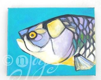 Fish Painting, TARPON HEAD, 8x10 Tropical Fish Art