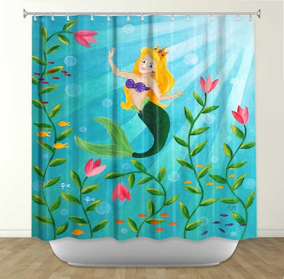 Shower Curtain Mermaid Princess Girls Bathroom Decor by