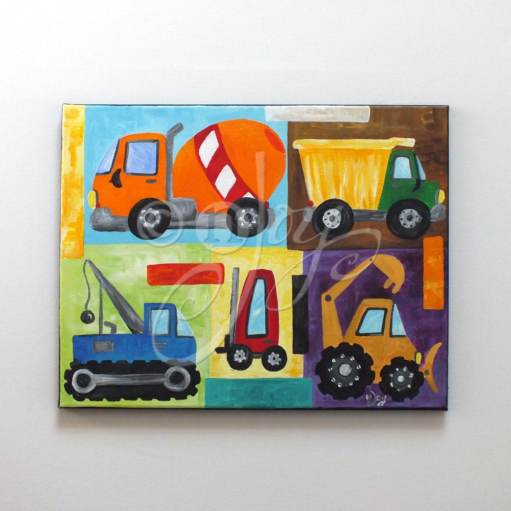 wall art for children construction vehicle painting 11x14. Black Bedroom Furniture Sets. Home Design Ideas