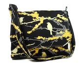 Women's Crossbody Bag, Messenger Purse, Pocketbook, Shoulder Bag, Black Yellow Bag, Joel Dewberry Aviary 2 Sparrows Black,  Fabric Purse