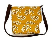 Small Messenger Purse for Women, Cotton Cross Body Bag, Fabric Pocketbook, Small Handbag, Crossbody Bag, Pussy Willow on Mustard Yellow