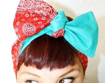 Vintage Inspired Head Scarf, Reversible, Red and Turquoise, Retro, Rockabilly