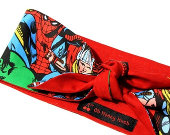 Vintage Inspired Head Scarf, The Avengers, Reversible Red, Comic Print, Rockabilly, Retro