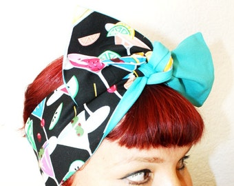Vintage Inspired Head Scarf, Martini, Retro, Rockabilly