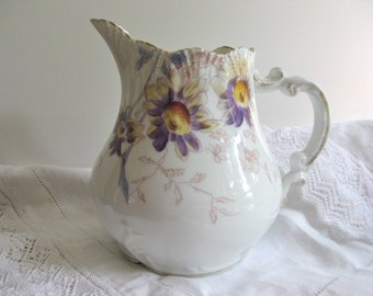 Lovely Hand Painted Floral Pitcher
