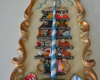 Bayern Bavaria Maypole German Figures Hand Carved Wax Wall Frame