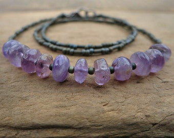Rustic Purple Amethyst Necklace, Bohemian beaded February birthstone jewelry with earthy lilac stone pebbles