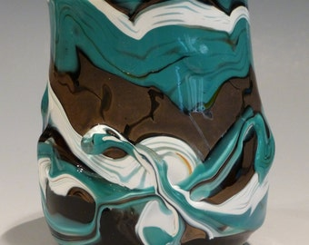 Blown Glass Wine Cup Turquoise Black White Gold George Watson Signed
