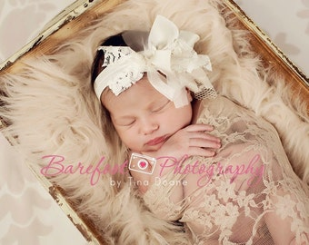 baby headband, ivory headband, flower girl hair accessories, baptism head band, newborn headband, lace headband